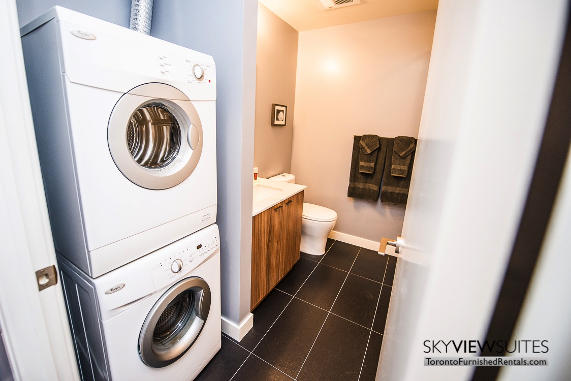 King West corporate rentals toronto laundry