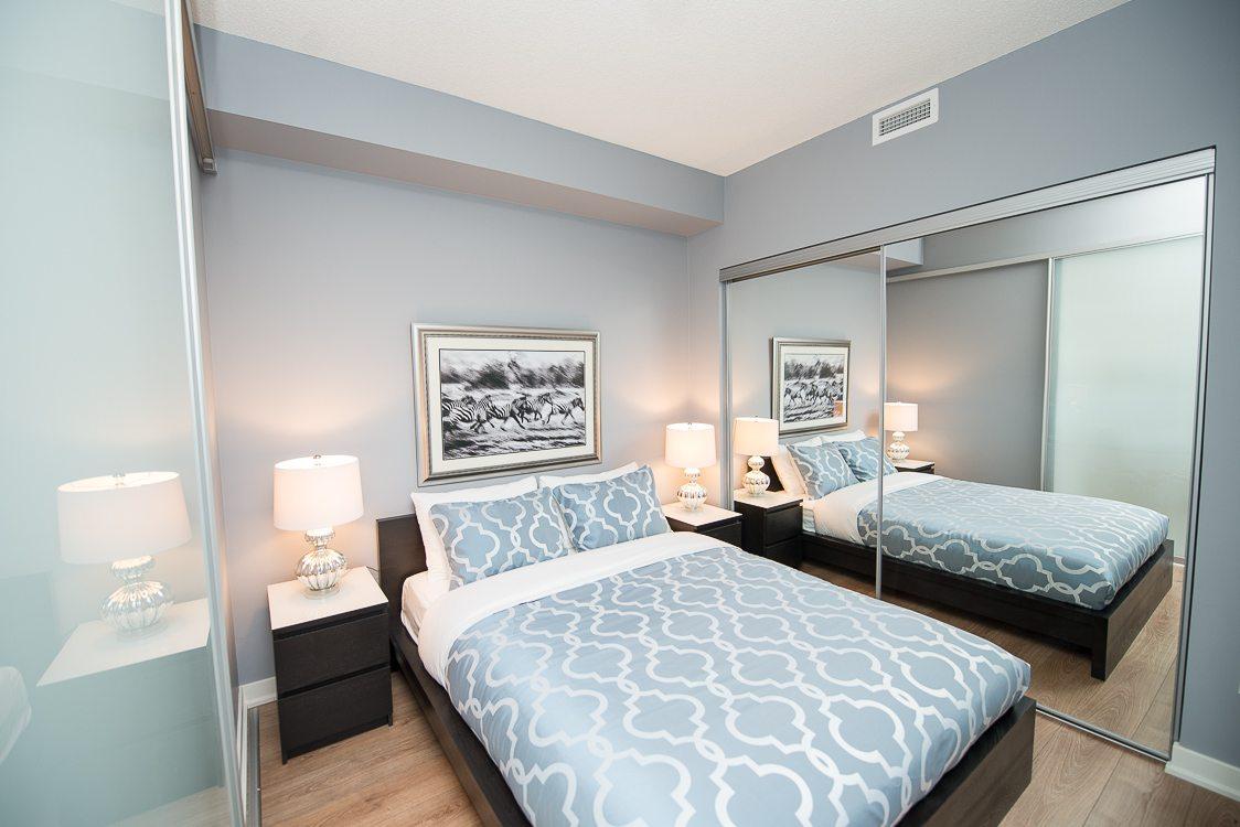 King West furnished blue bedroom