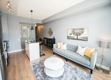 Toronto furnished apartment couch and living room