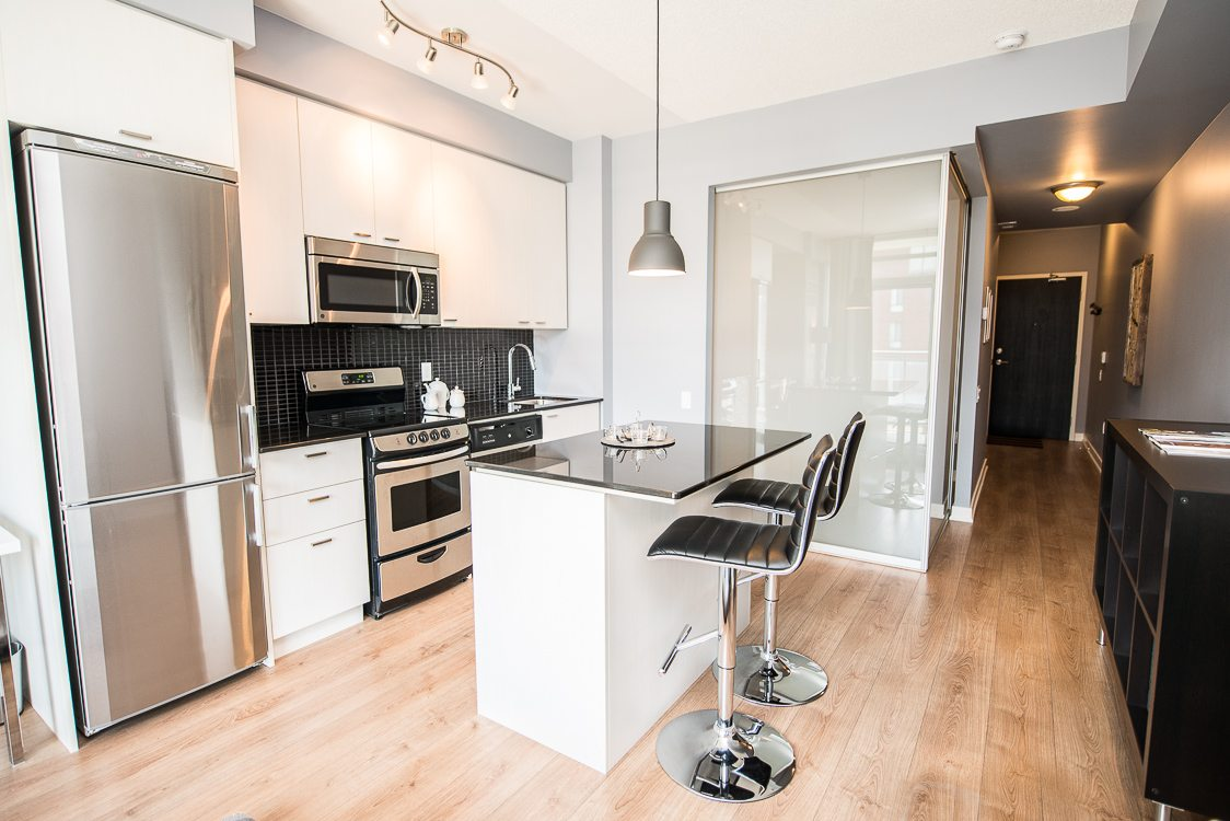 Kitchen countertop in king west toronto furnished apartment