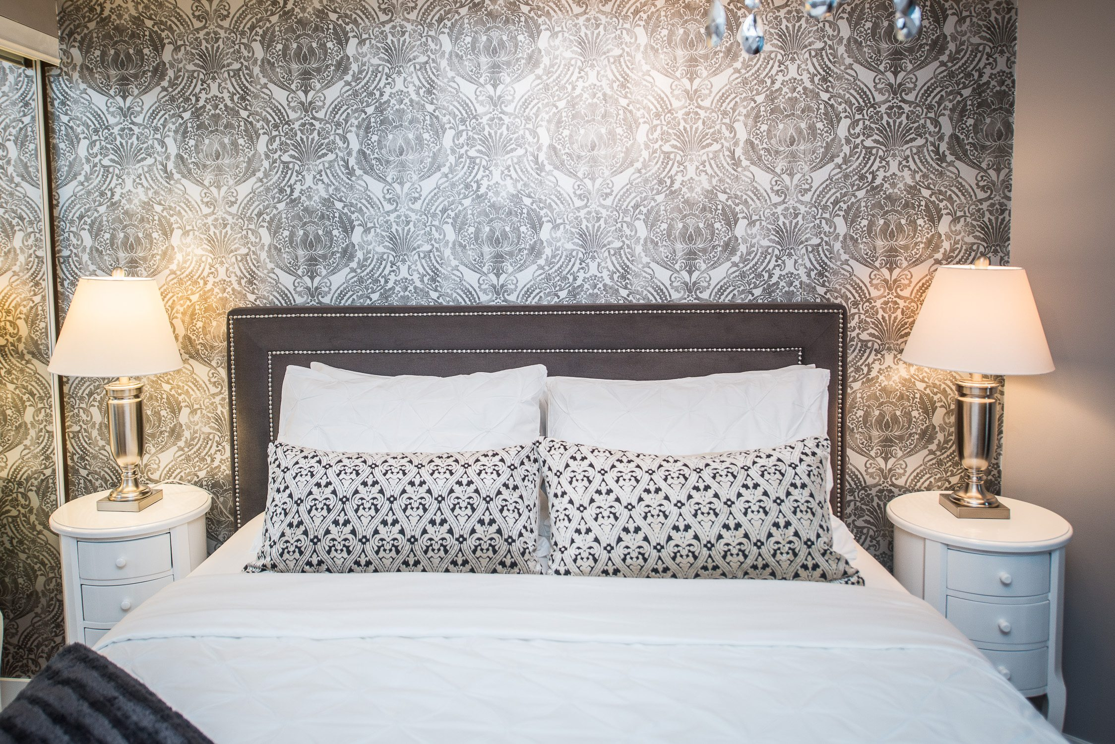 silver bedroom in king west furnished apartment in toronto
