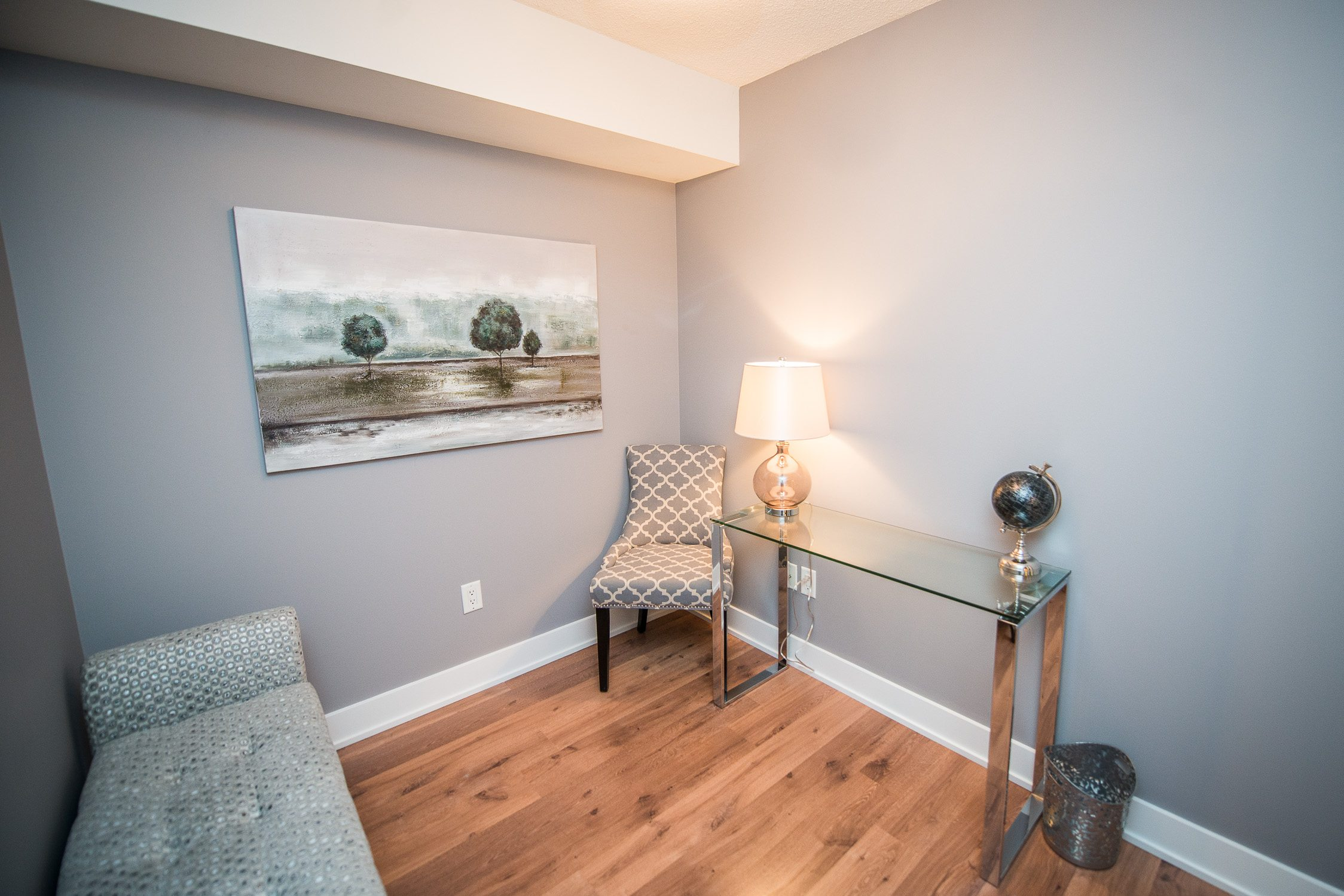 desk and pull-out couch in toronto furnished apartment