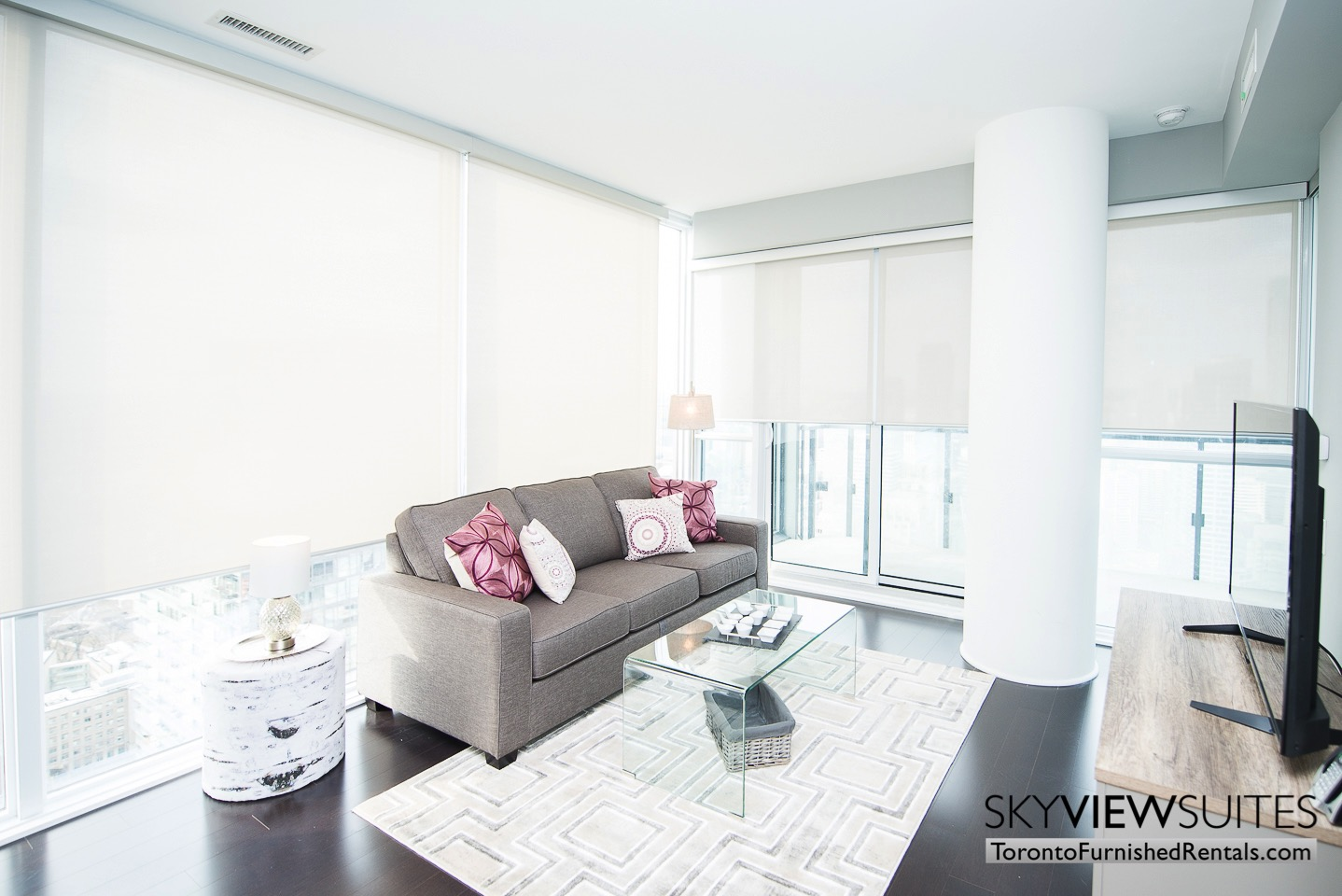 Cityplace furnished condo toronto purple couch