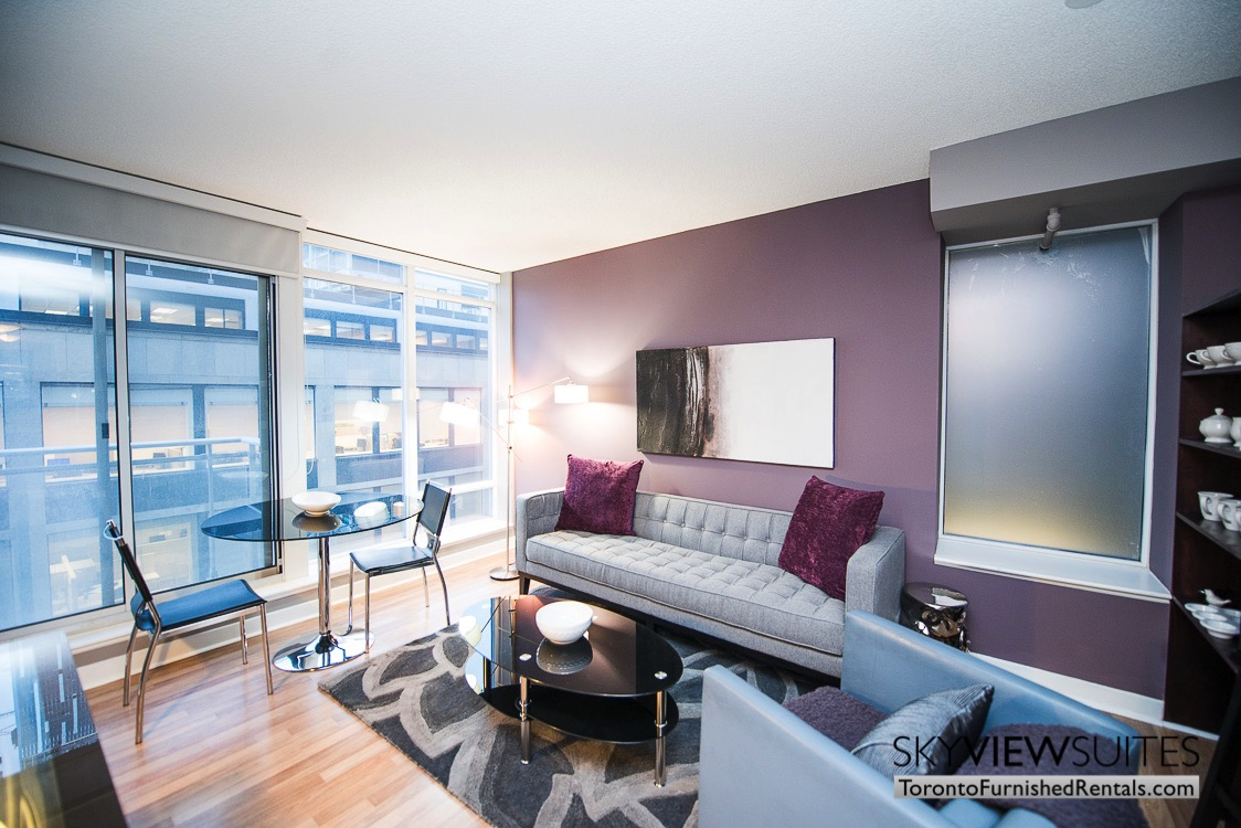 purple pillow living room furnished rentals the Urban toronto