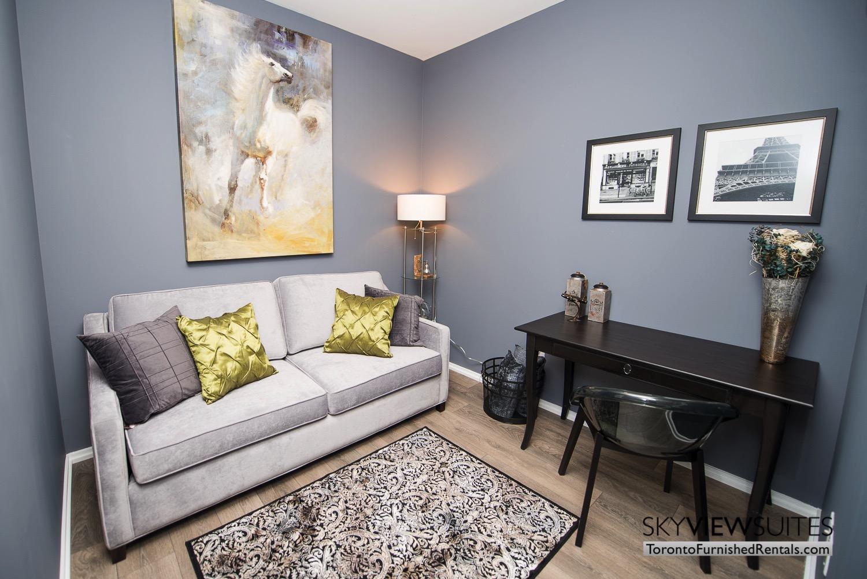corporate rentals Yorkville toronto green pillow desk