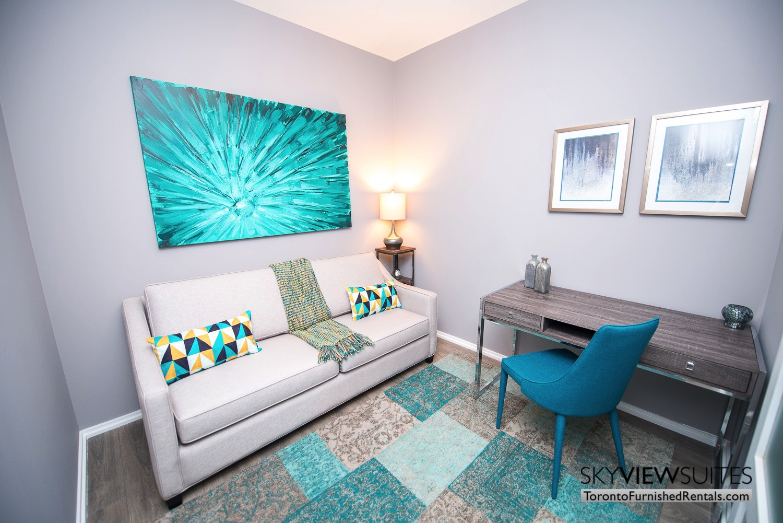corporate rentals Yorkville toronto blue pillow chair