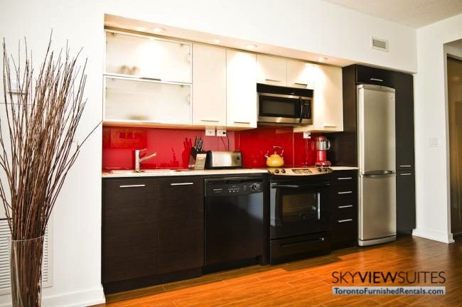 Cityplace corporate rentals Toronto kitchen