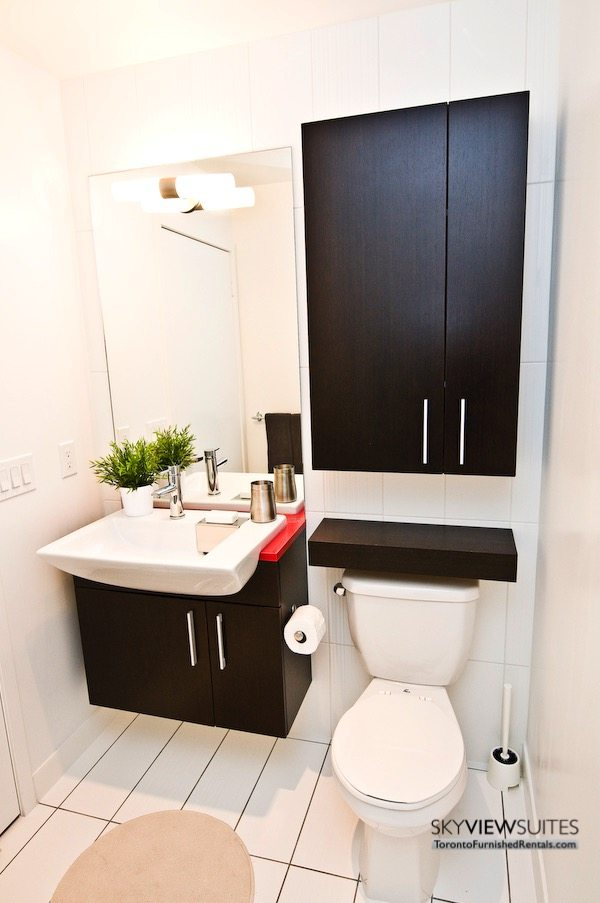 Cityplace corporate rentals Toronto bathroom