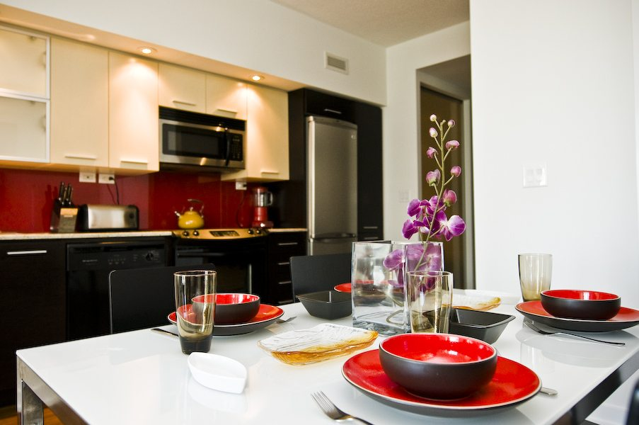 Cityplace corporate rentals Toronto dining table