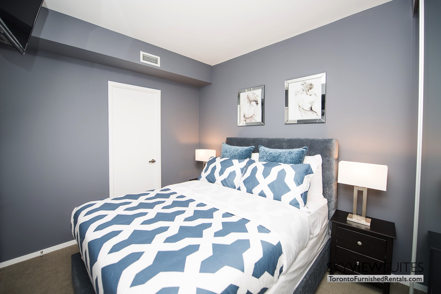 corporate rentals Yorkville toronto blue bedding