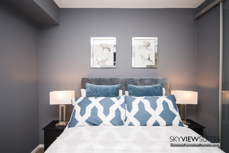 blue pillow bedroom corporate rentals Yorkville toronto