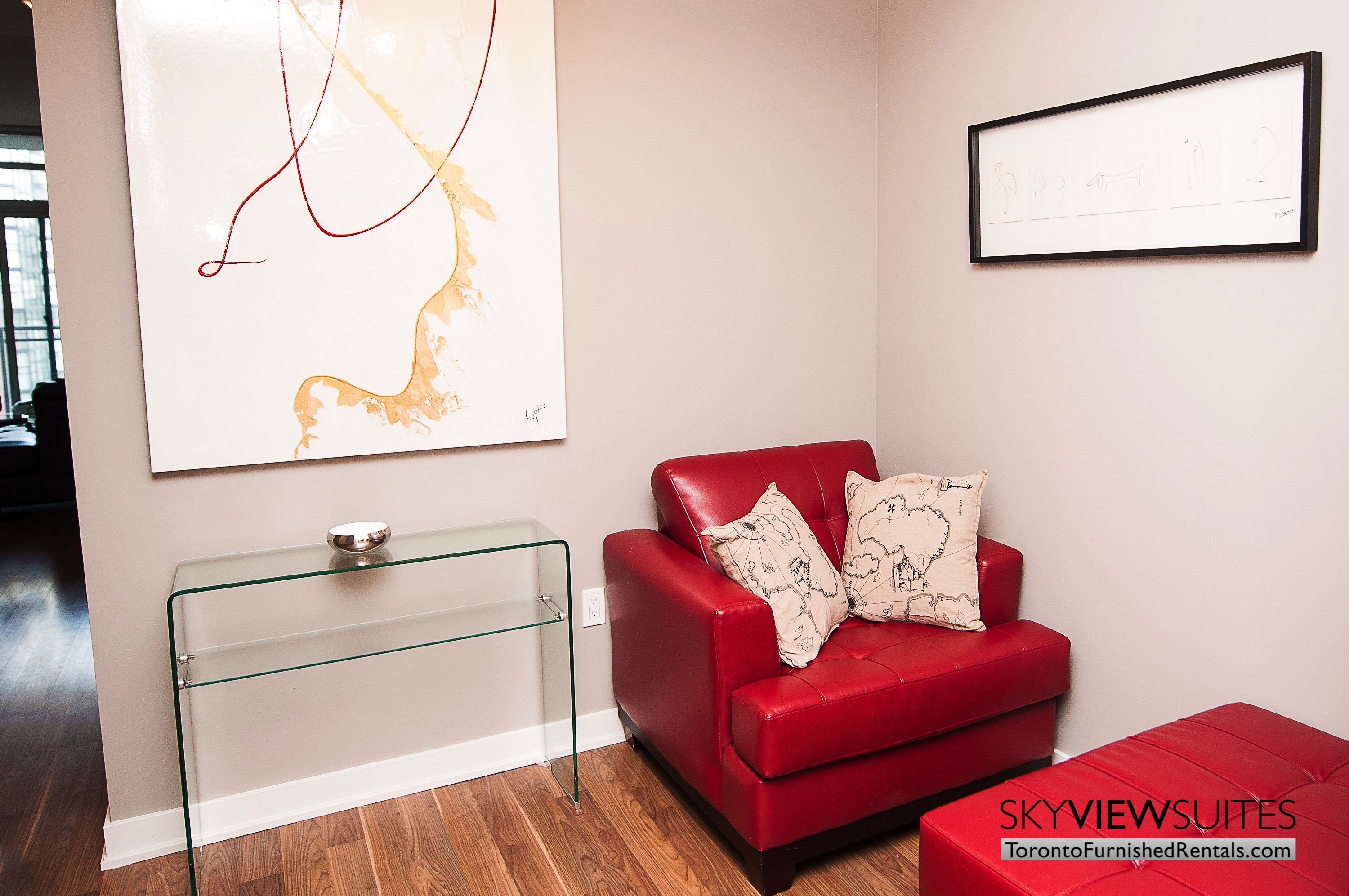King west corporate rentals toronto red chair