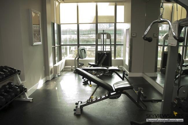 Cityplace West Toronto weights room furnished condo