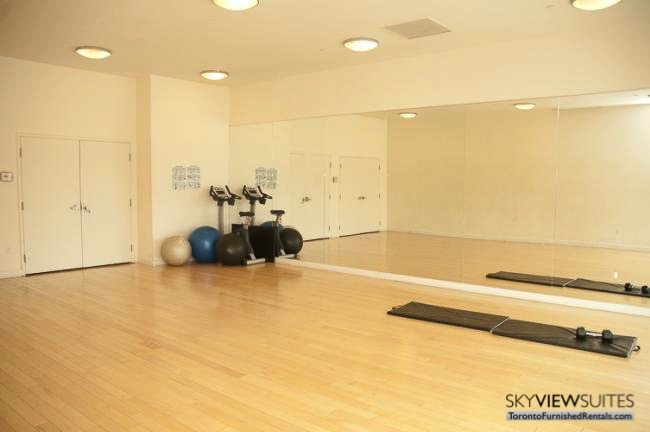 Cityplace West Toronto yoga room furnished condo
