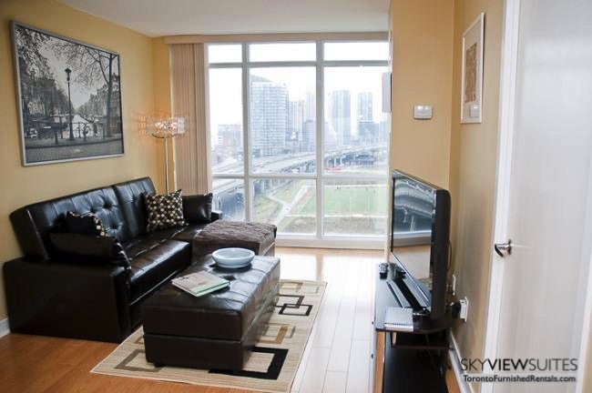 Cityplace West Toronto living room furnished condo