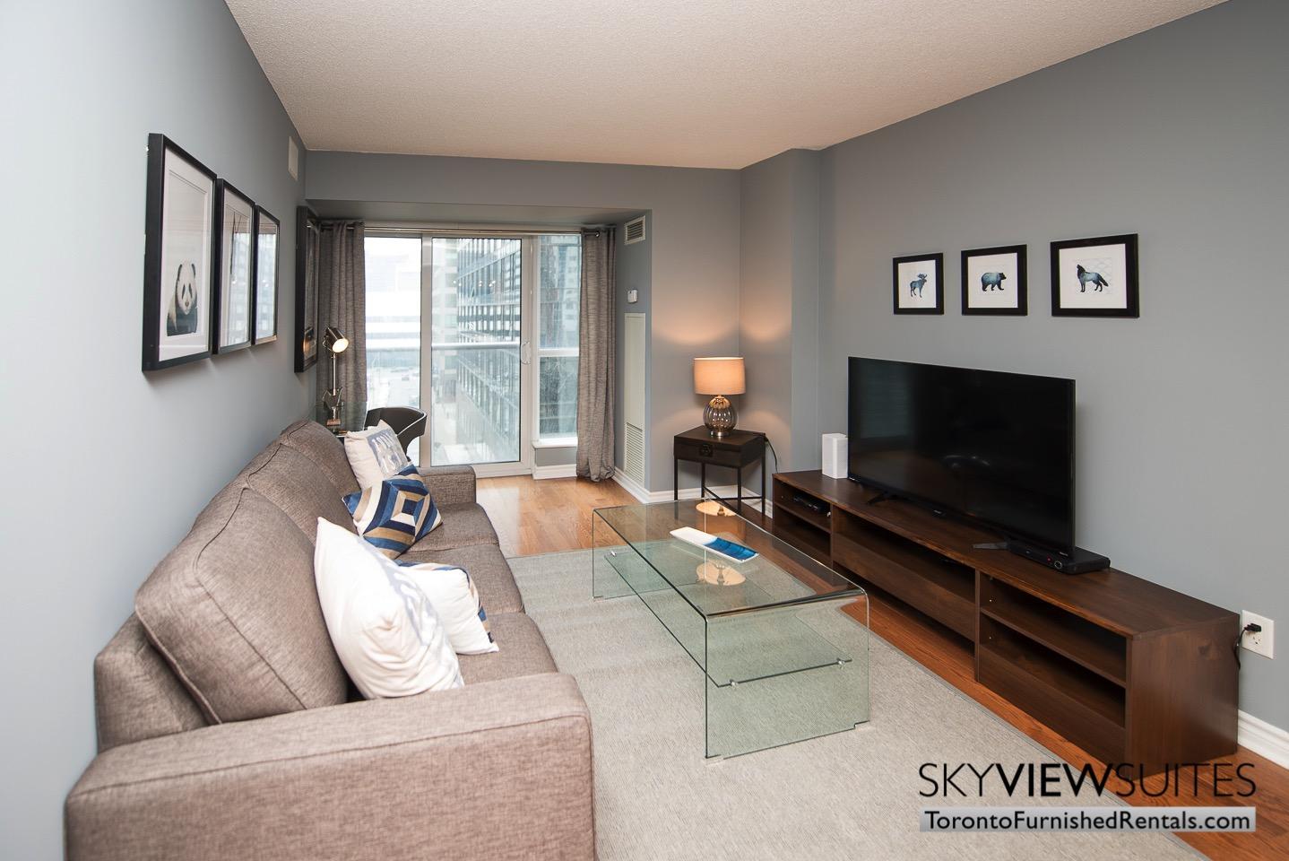Wellington and Blue Jays Way executive rentals toronto living room pillows and tv set