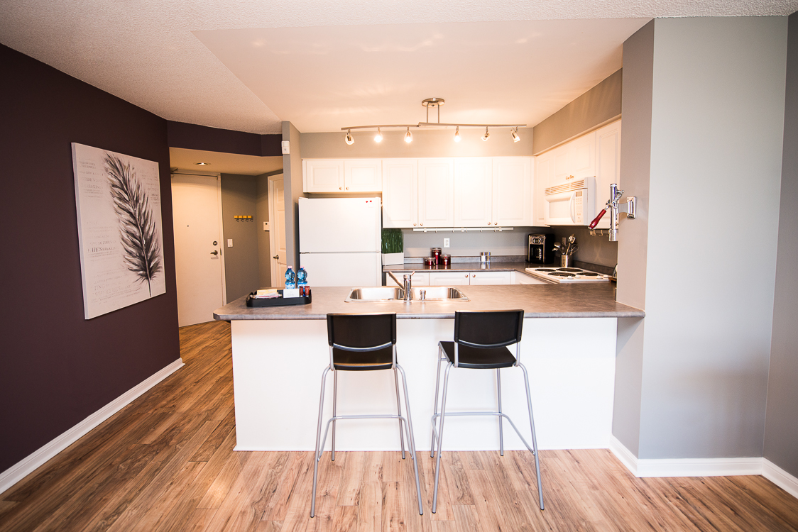 Adelaide & Sherbourne executive rentals toronto purple wall kitchen