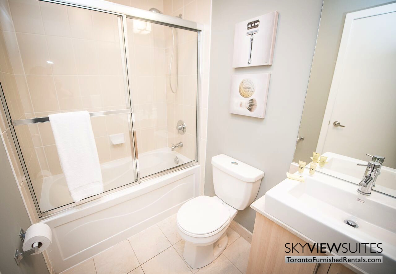 MLS furnished condo toronto shower and toilet