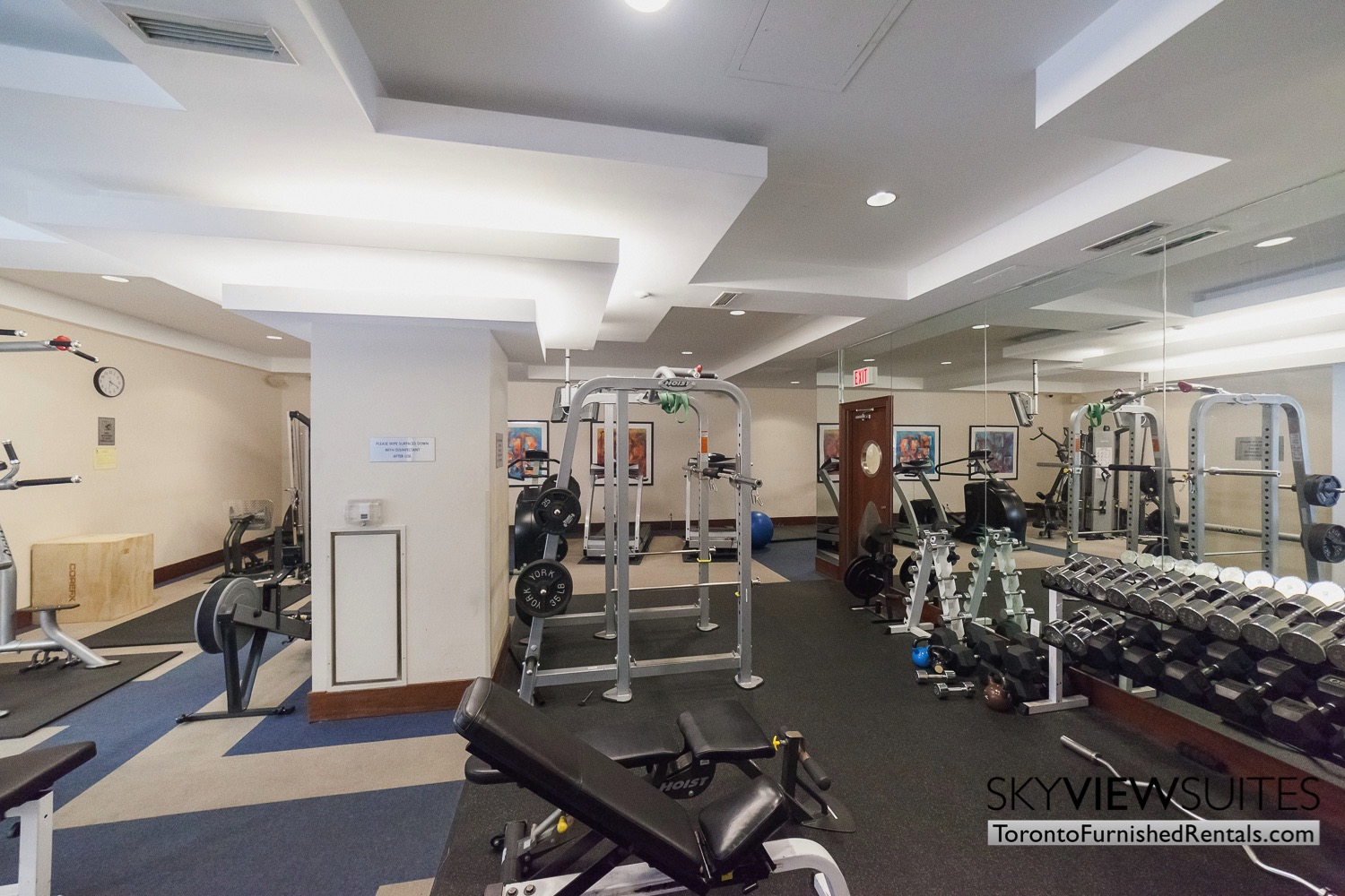 Qwest condos fitness room furnished toronto