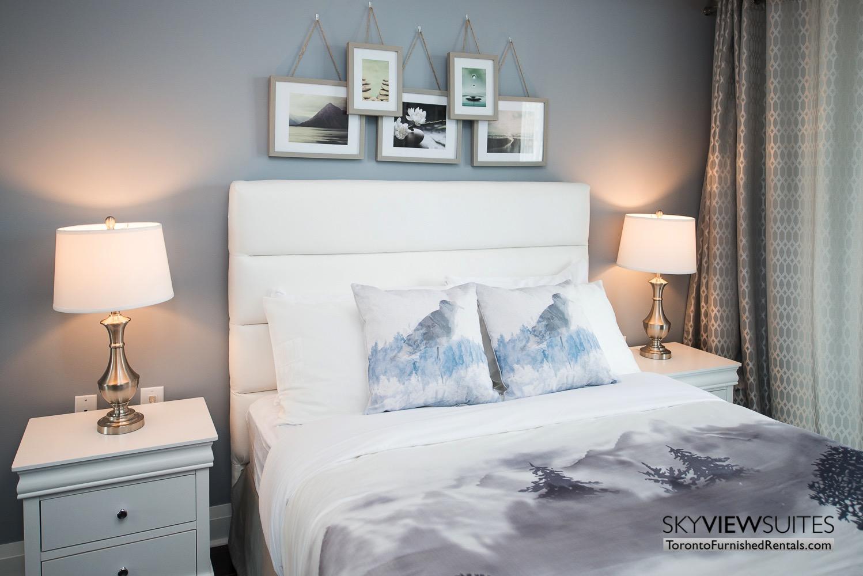 furnished apartments toronto Varsity printed pillows bedroom