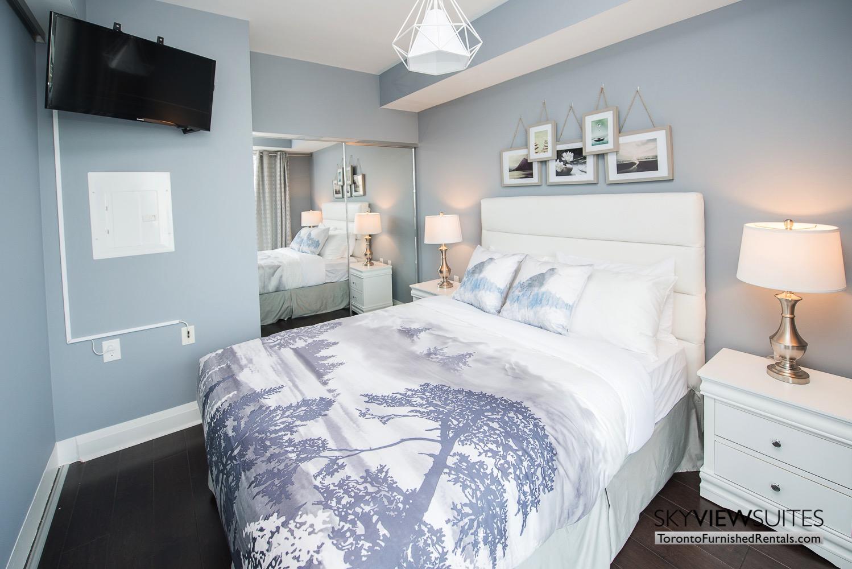 furnished apartments toronto Varsity printed sheets bedroom