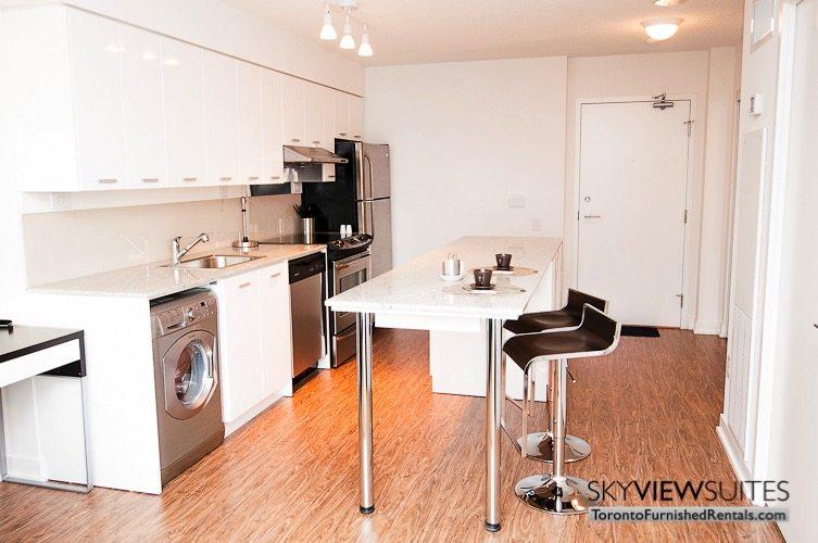 Leslie and Sheppard furnished suites toronto washing machine kitchen