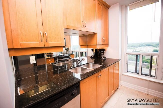 furnished rentals toronto lakeshore west kitchen sink and coffeemaker