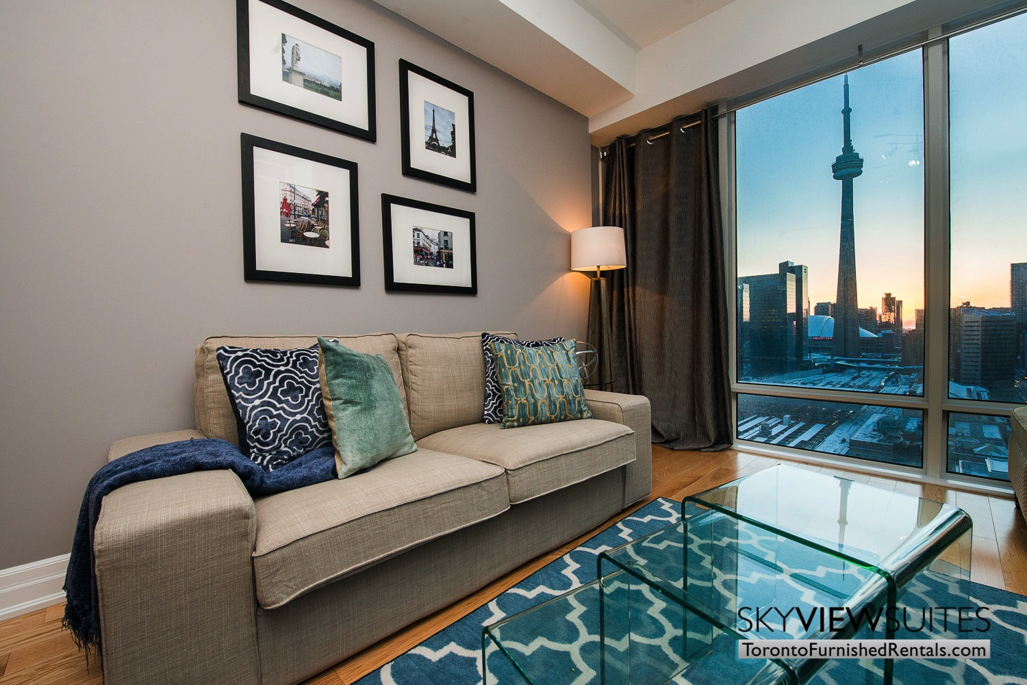 Yonge & Front serviced apartments toronto CN Tower and wall art