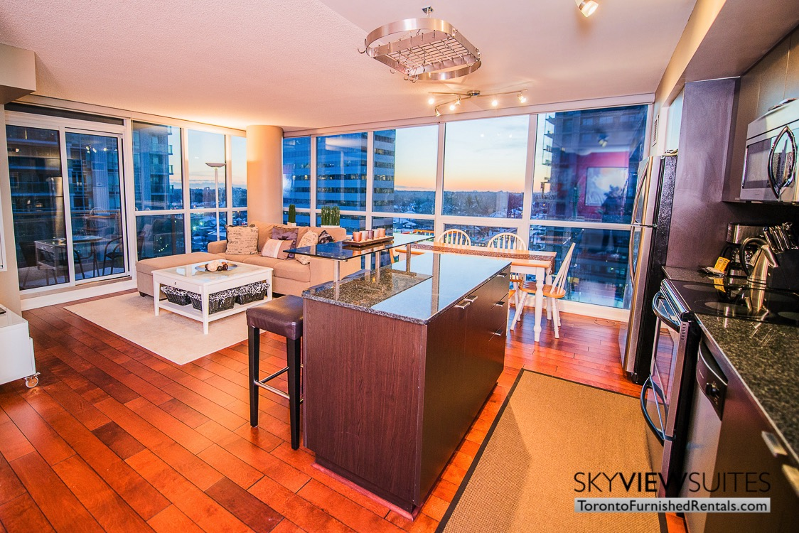 Yonge and Sheppard serviced apartments toronto kitchen and living room