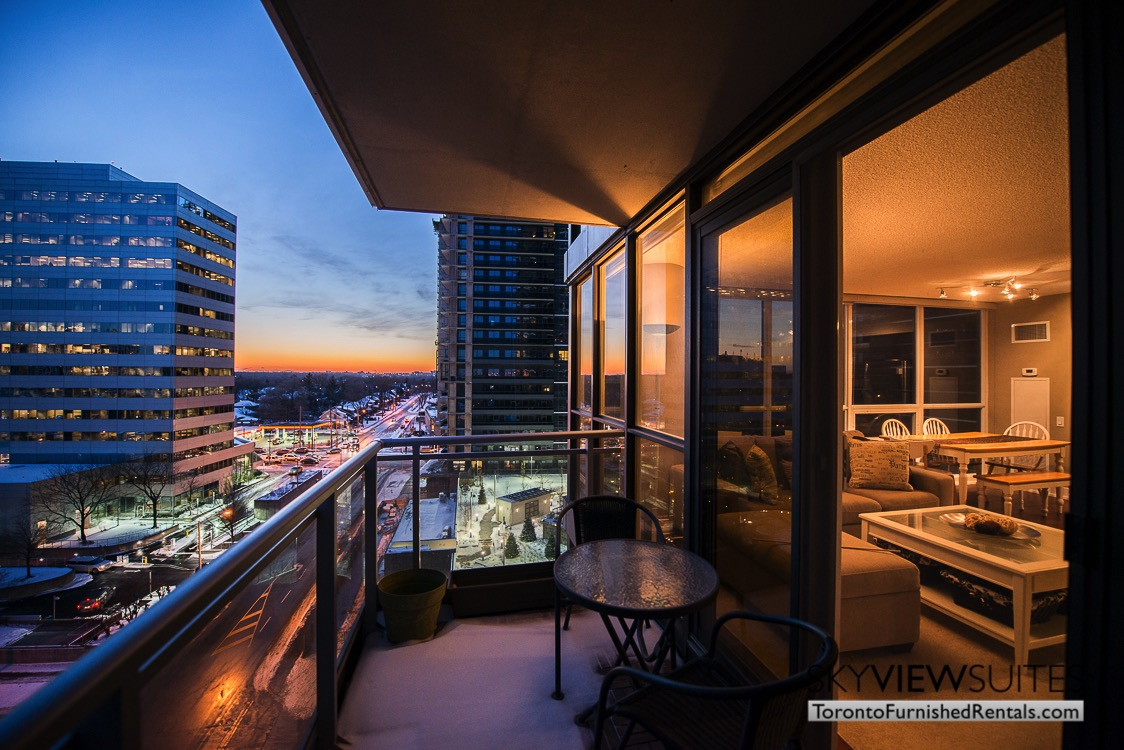 Yonge and Sheppard serviced apartments toronto balcony