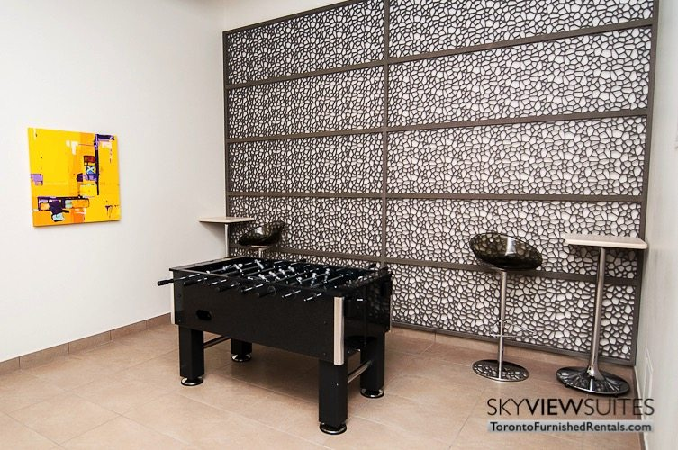 foosball in Leslie and Sheppard furnished suites toronto