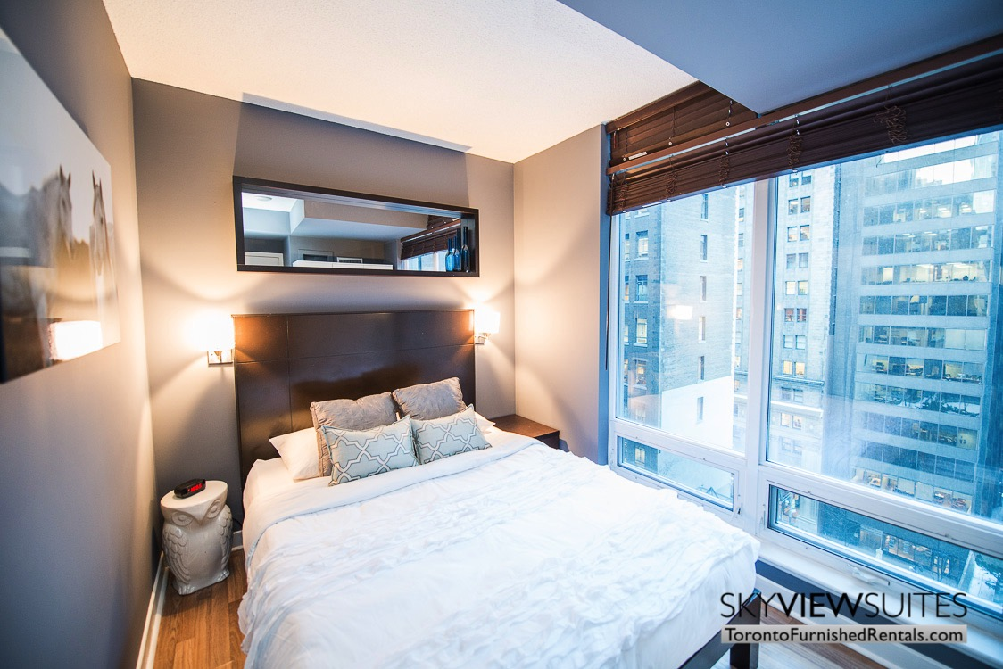 furnished suites toronto Colborne Street window bedroom