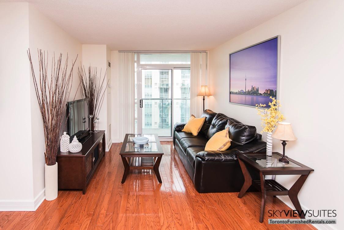 corporate rentals toronto Avondale living room