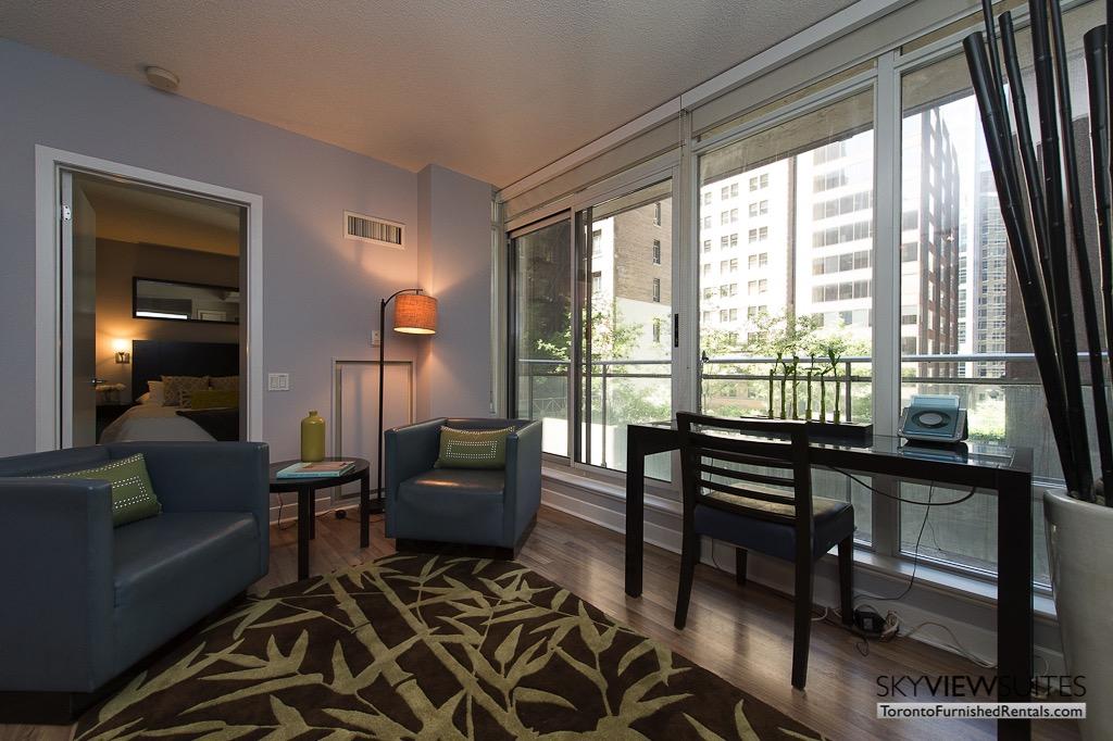 8 Colborne Street short term rental toronto living room with desk