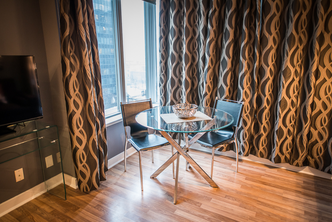 King and Yonge executive rentals toronto dining table