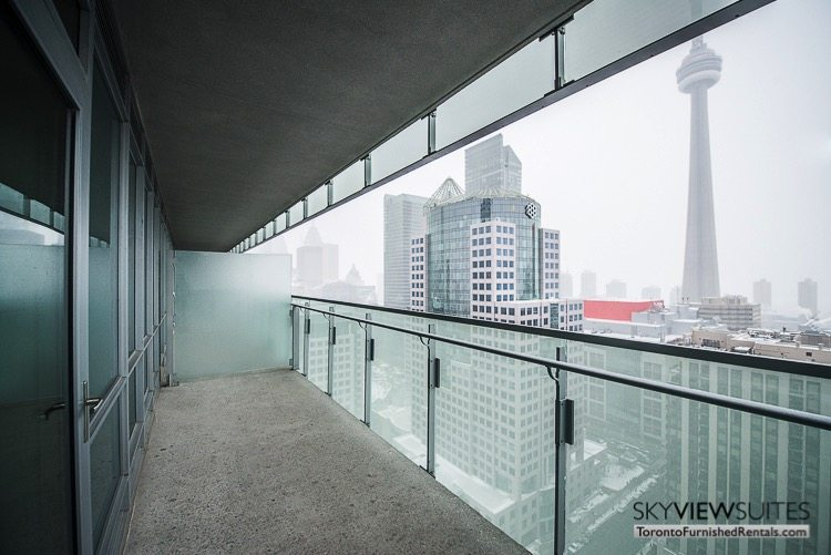 King and Spadina serviced apartments toronto balcony