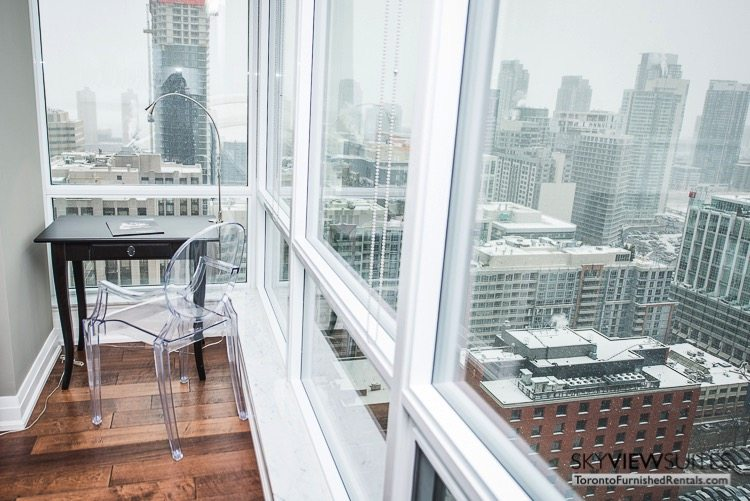 King and Spadina serviced apartments toronto office with a view of the city