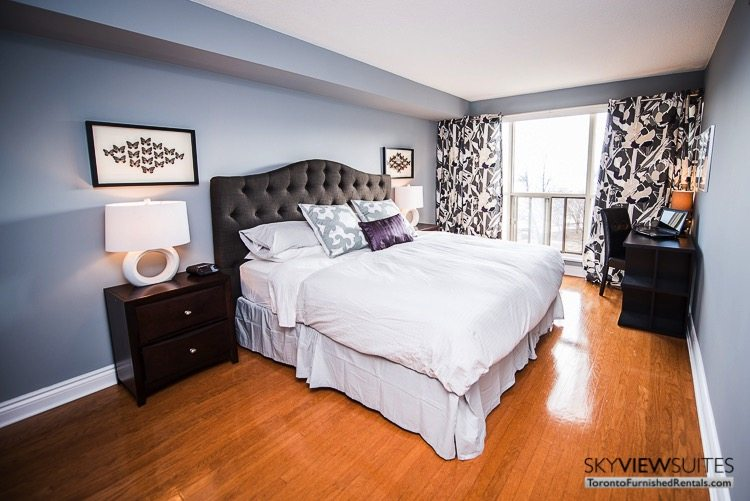 serviced apartments toronto marina del ray bedroom with nightstand and desk