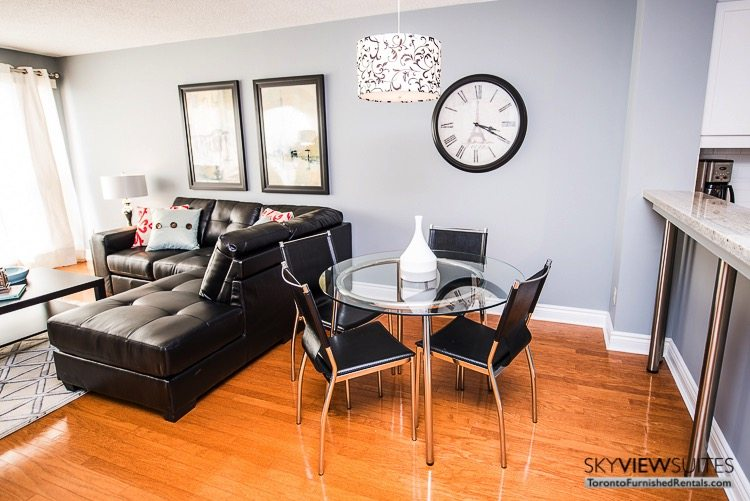 serviced apartments toronto marina del ray dining table and living room couch