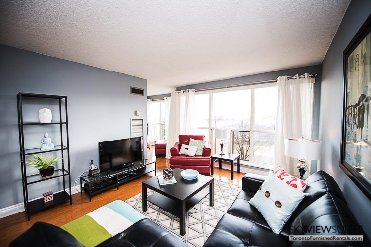 serviced apartments toronto marina del ray living room with television and couches