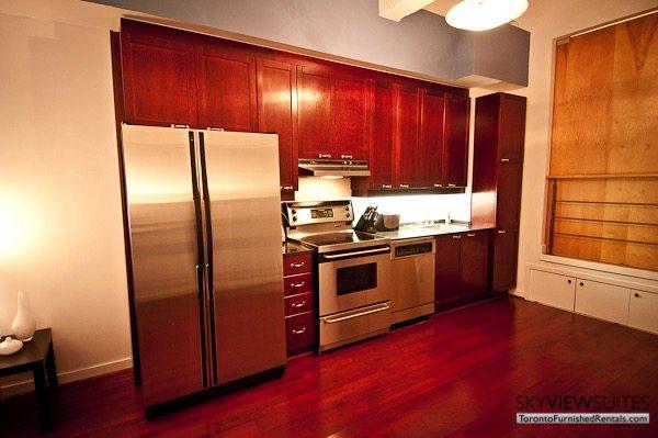 Church and Dundas toronto corporate housing kitchen
