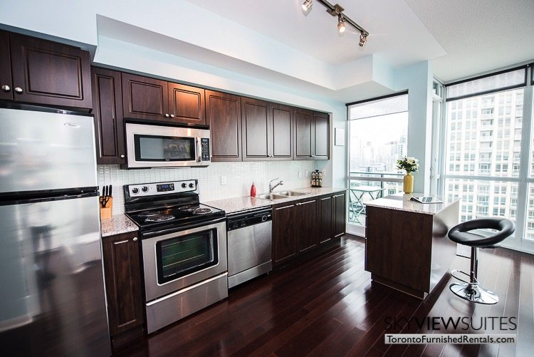 furnished suites toronto Neptune kitchen and dining island