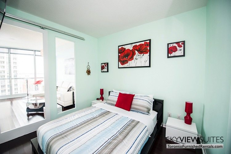 furnished suites toronto Neptune red bedroom