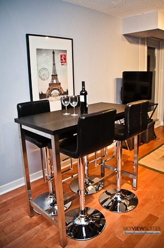 furnished suites toronto harbourfront dining table