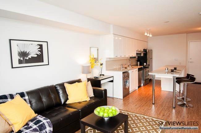 Leslie and Sheppard executive rentals toronto kitchen and refridgerator