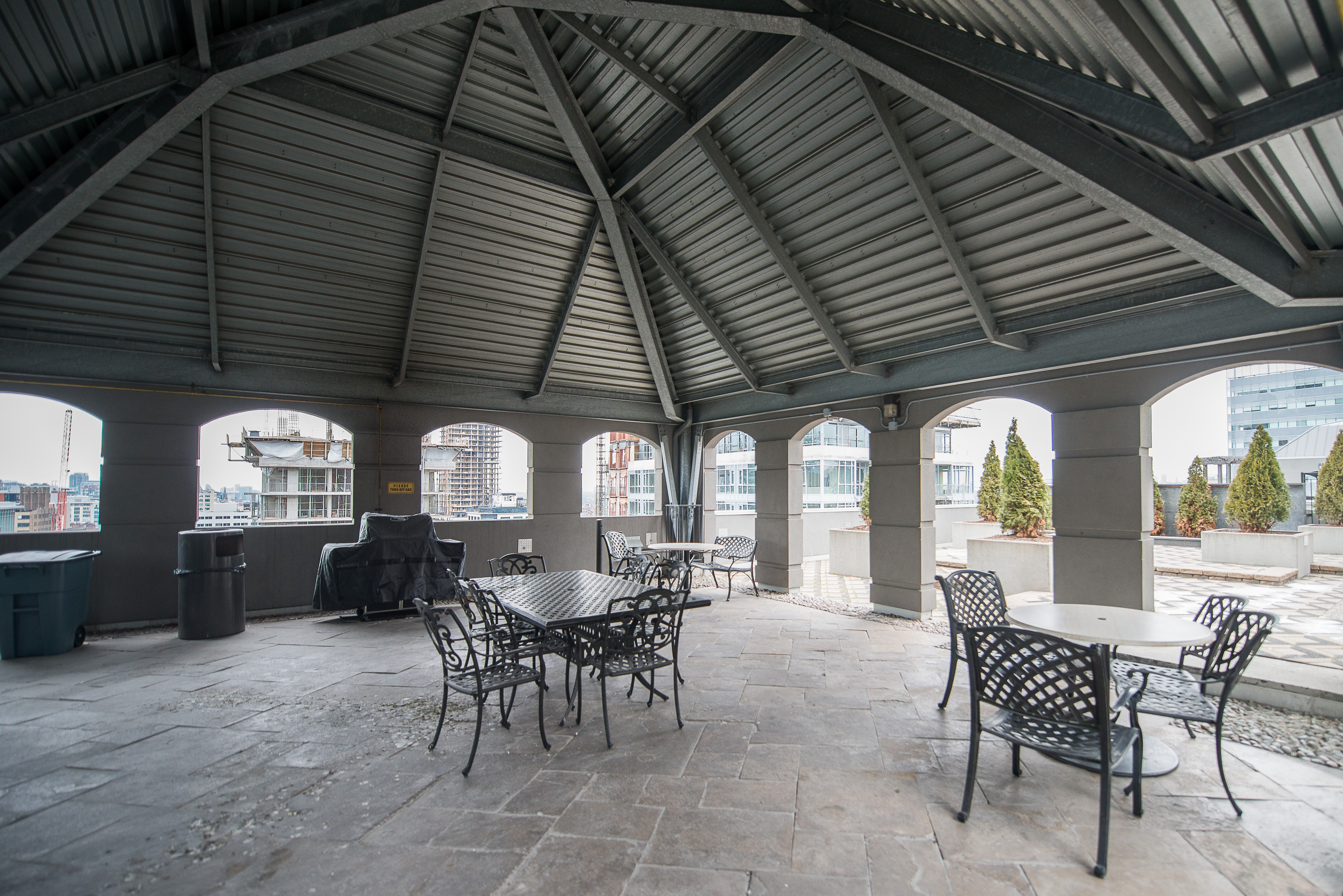 serviced apartments toronto financial district rooftop patio gazebo