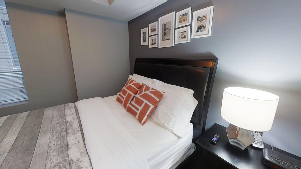furnished apartments toronto university plaza bedroom and night table