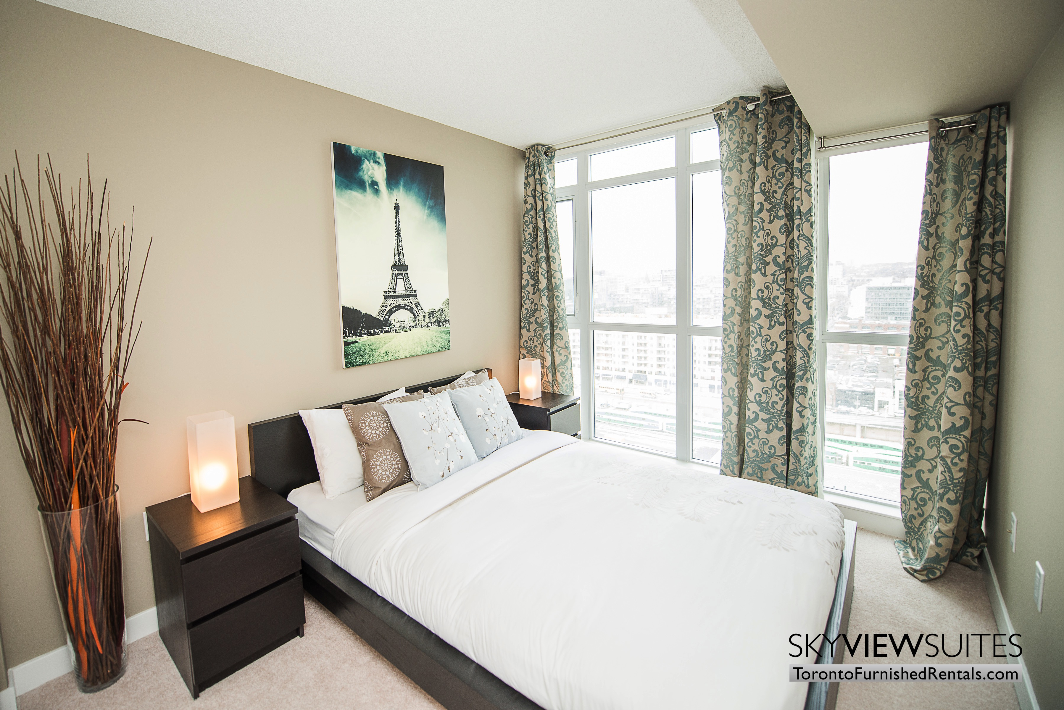 furnished apartments toronto parade bedroom with window