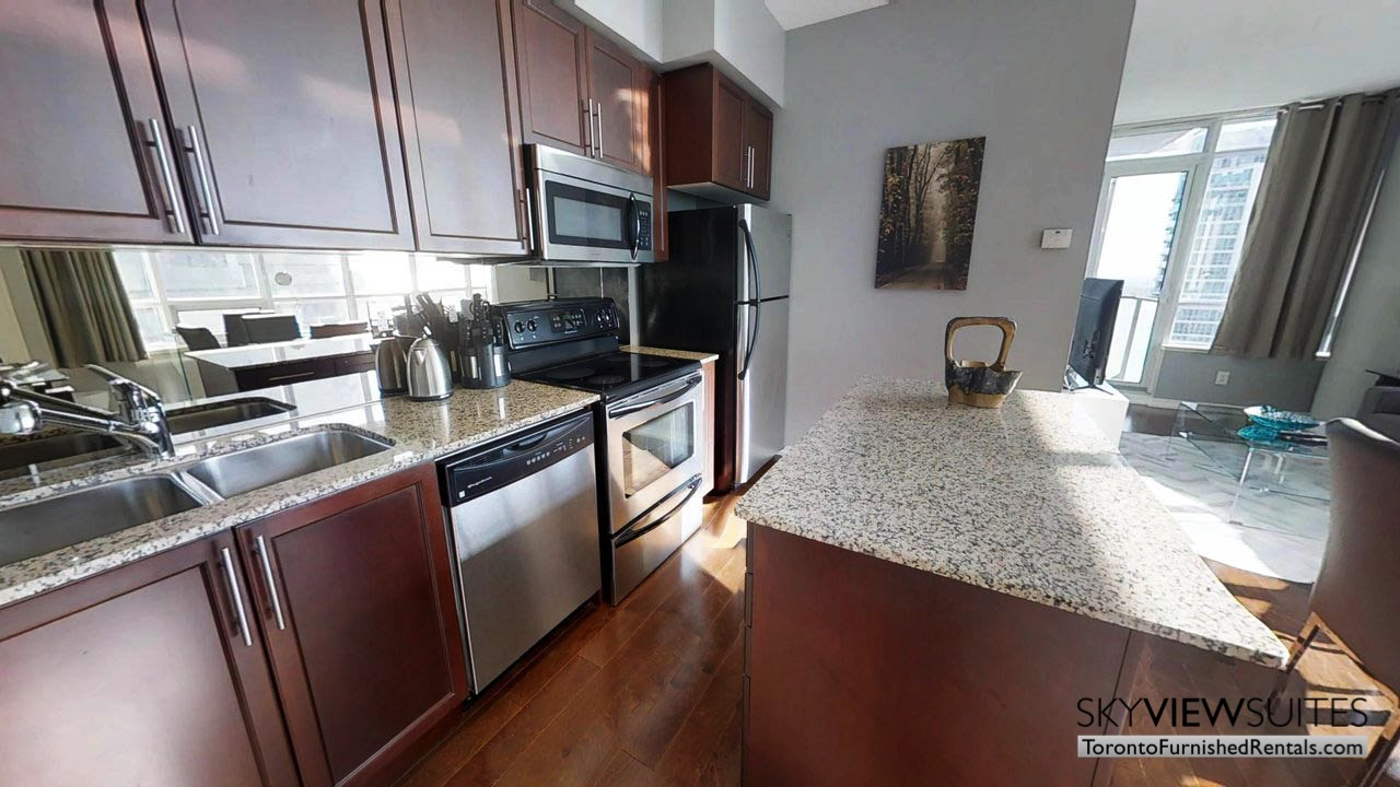 furnished rentals toronto Maple Leaf Square kitchen
