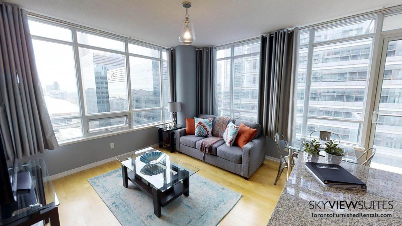 short term rentals Toronto Maple Leaf Square living room